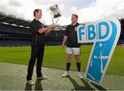 16 September 2013; The groups and teams for the FBD 7s, Ireland's premier 7s football competition, were announced today in Croke Park. The FBD 7s is taking place in Kilmacud this Saturday, 21st September 2013 and 32 of Ireland's top club teams will be taking part. At the launch of the 2013 FBD 7s hosted by Kilmacud Crokes are former Mayo player Kevin O'Neill, left, and former Dublin player and current Kilmacud Crokes player Mark Vaughan. FBD All-Ireland Football Sevens Launch, Croke Park, Dublin. Picture credit: David Maher / SPORTSFILE