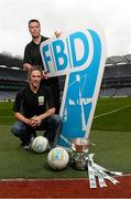 16 September 2013; The groups and teams for the FBD 7s, Ireland's premier 7s football competition, were announced today in Croke Park. The FBD 7s is taking place in Kilmacud this Saturday, 21st September 2013 and 32 of Ireland's top club teams will be taking part. At the launch of the 2013 FBD 7s hosted by Kilmacud Crokes are former Mayo player Conor Mortimer and former Dublin player Ray Cosgrove, top. FBD All-Ireland Football Sevens Launch, Croke Park, Dublin.  Picture credit: David Maher / SPORTSFILE