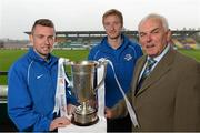 17 September 2013; Drogheda United manager Mick Cooke with players, Philip Hand, left, and Paul O'Connor during a media day ahead of their EA Sports Cup Final against Shamrock Rovers on Saturday. Tallaght Stadium, Tallaght, Co. Dublin. Picture credit: David Maher / SPORTSFILE