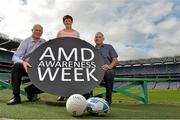 19 September 2013; Highlighting the message that Age-related Macular Degeneration (AMD) affects 1 in 10 Irish people over the age of 50, noted sporting personalities, most of whom have played a 'number 10' position across a range of sports, came together to launch AMD Awareness Week at Croke Park Stadium. AMD Awareness Week runs from 23rd- 29th of September to promote early detection of the signs of the eye condition AMD, the most common cause of registered blindness in Ireland. For further information visit www.amd.ie. Pictured are former Dublin footballer Barney Rock, left, former Monaghan ladies footballer Brenda McAnespie and former Irish rugby player Tony Ward. Croke Park, Dublin. Picture credit: Barry Cregg / SPORTSFILE
