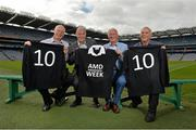 19 September 2013; Highlighting the message that Age-related Macular Degeneration (AMD) affects 1 in 10 Irish people over the age of 50, noted sporting personalities, most of whom have played a 'number 10' position across a range of sports, came together to launch AMD Awareness Week at Croke Park Stadium. AMD Awareness Week runs from 23rd- 29th of September to promote early detection of the signs of the eye condition AMD, the most common cause of registered blindness in Ireland. For further information visit www.amd.ie. Pictured are former Dublin footballer Barney Rock, left, Dr. David Hickey, Dublin GAA selector, former Bohemian FC player Turlough O'Connor and former Irish rugby player Tony Ward, right. Croke Park, Dublin. Picture credit: Barry Cregg / SPORTSFILE