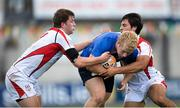 21 September 2013; Jeremy Loughman, Leinster, is tackled by James Gallagher, left, and Daniel Dass, Ulster. Under 19 Interprovincial, Leinster v Ulster. Donnybrook Stadium, Donnybrook, Dublin. Picture credit: Stephen McCarthy / SPORTSFILE