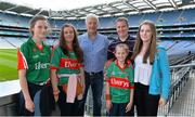21 September 2013; On the eve of the All-Ireland Football Final, Mayo football legend Willie Joe Padden gave a unique tour of Croke Park stadium as part of the Bord Gáis Energy Legends Tour Series. Pictured with Willie are Mayo supporters, from left, Rachel, Kate, Sophie, Vincent and Sarah Naughton, from Crossmolina, Co. Mayo. Willie Joe Padden also received a framed photograph and plaque from John Conroy, Sponsorship, Bord Gais Energy, after the tour. This was the final Bord Gáis Energy Legends Tour for 2013 and previous tours included Legends such as Pat Gilroy, Ken McGrath, Tommy Dunne, Jamesie O'Connor and Steven McDonnell. Full details of other Croke Park events are available on www.crokepark.ie/events. Croke Park, Dublin. Picture credit: Brendan Moran / SPORTSFILE