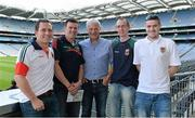 21 September 2013; On the eve of the All-Ireland Football Final Mayo football legend Willie Joe Padden gave a unique tour of Croke Park stadium as part of the Bord Gáis Energy Legends Tour Series. Pictured with Willie are, Mayo supporters, from left, Gary Gallagher, Benny Carey, Ciaran Gallagher, and Peter Carey, from Belmullet, Co. Mayo. Willie Joe Padden also received a framed photograph and plaque from John Conroy, Sponsorship, Bord Gais Energy, after the tour. This was the final Bord Gáis Energy Legends Tour for 2013 and previous tours included Legends such as Pat Gilroy, Ken McGrath, Tommy Dunne, Jamesie O'Connor and Steven McDonnell. Full details of other Croke Park events are available on www.crokepark.ie/events. Croke Park, Dublin. Picture credit: Brendan Moran / SPORTSFILE