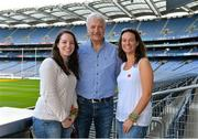21 September 2013; On the eve of the All-Ireland Football Final Mayo football legend Willie Joe Padden gave a unique tour of Croke Park stadium as part of the Bord Gáis Energy Legends Tour Series. Pictured with Willie are Mayo supporters Caitriona and Siobhan Burke, from Foxford, Co. Mayo. Willie Joe Padden also received a framed photograph and plaque from John Conroy, Sponsorship, Bord Gais Energy, after the tour. This was the final Bord Gáis Energy Legends Tour for 2013 and previous tours included Legends such as Pat Gilroy, Ken McGrath, Tommy Dunne, Jamesie O'Connor and Steven McDonnell. Full details of other Croke Park events are available on www.crokepark.ie/events. Croke Park, Dublin. Picture credit: Brendan Moran / SPORTSFILE
