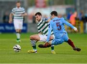 21 September 2013; Thomas Stewart, Shamrock Rovers, in action against Alan McNally, Drogheda United. EA Sports Cup Final, Shamrock Rovers v Drogheda United, Tallaght Stadium, Tallaght, Co. Dublin. Picture credit: Paul Mohan / SPORTSFILE