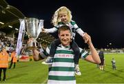 21 September 2013; Jason McGuinness, Shamrock Rovers, celebrates with his 3 year old daughter Abbie after the game. EA Sports Cup Final, Shamrock Rovers v Drogheda United, Tallaght Stadium, Tallaght, Co. Dublin. Picture credit: Paul Mohan / SPORTSFILE
