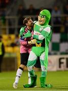 21 September 2013; Shamrock Rovers goalkeeper Barry Murphy celebrates with team mascot 'Hooperman' after the game. EA Sports Cup Final, Shamrock Rovers v Drogheda United, Tallaght Stadium, Tallaght, Co. Dublin. Picture credit: Paul Mohan / SPORTSFILE