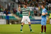 21 September 2013; Ken Oman, Shamrock Rovers, reacts after being sent off by referee Padraigh Sutton. EA Sports Cup Final, Shamrock Rovers v Drogheda United, Tallaght Stadium, Tallaght, Co. Dublin. Picture credit: Paul Mohan / SPORTSFILE