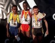 17 January 1999; Men's International race podium, gold medallist Richard Limo of Kenya, centre, silver medallist Million Wold of Ethiopa, left, and bronze medallist Peter Matthews of Ireland during the Ras na hEireann at Oldbridge House in Drogheda, Co Louth. Photo by Matt Browne/Sportsfile