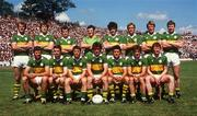 1 July 1984; The Kerry team against Cork, back row, from left, Jack O'Shea, Tom Spillane, Mikey Sheehy, Charlie Nelligan, Willie Maher, Ger Lynch, Pat Spillane, Sean Walsh. Fromt, from left, Eoin Liston, Tommy Doyle, Paidi O'Se, Ambrose O'Donovan, Ger Power, Mick Spillane and John Kennedy. Munster Football Final, Kerry v Cork, Fitzgerald Stadium, Killarney, Co. Kerry. Football. Picture credit; Ray McManus / SPORTSFILE