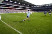 14 August 2004; Dara O Cinneide scores a goal for Kerry under pressure from Dublin full-back Paddy Christie. Bank of Ireland Senior Football Championship Quarter-Final, Dublin v Kerry, Croke Park, Dublin. Picture credit; Damien Eagers / SPORTSFILE