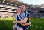 22 September 2013; Dublin's Dean Rock, left, and Paddy Andrews celebrate after the game. GAA Football All-Ireland Senior Championship Final, Dublin v Mayo, Croke Park, Dublin. Picture credit: Ray McManus / SPORTSFILE