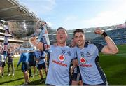 22 September 2013; Dublin's Paul Flynn, left, and Bernard Brogan celebrate with the Sam Maguire cup following their side's victory. GAA Football All-Ireland Senior Championship Final, Dublin v Mayo, Croke Park, Dublin. Picture credit: Stephen McCarthy / SPORTSFILE