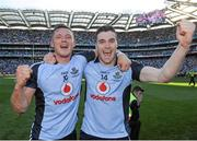 22 September 2013; Dublin's Paul Flynn, left, and Paddy Andrews celebrate after the match. GAA Football All-Ireland Senior Championship Final, Dublin v Mayo, Croke Park, Dublin. Picture credit: Brian Lawless / SPORTSFILE