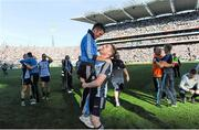 22 September 2013; Dublin's Paddy Andrews celebrates with Bernard Dunne, a member of the Dublin backroom staff and former WBA Super Bantamweight World Champion, after the match. GAA Football All-Ireland Senior Championship Final, Dublin v Mayo, Croke Park, Dublin. Picture credit: Brian Lawless / SPORTSFILE