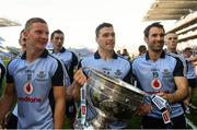 22 September 2013; Dublin players from left, Ciaran Kilkenny, Paddy Andrews and Bryan Cullen celebrate at the end of the game. GAA Football All-Ireland Senior Championship Final, Dublin v Mayo, Croke Park, Dublin. Picture credit: David Maher / SPORTSFILE