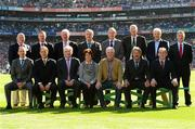 22 September 2013; The Football 'Stars of the 80's' tribute. Back row, from left, Eugene 'Nudie' Hughes, Monaghan/Castleblayney, Kevin O'Brien, Wicklow/Baltinglass, Tony McManus, Roscommon/Clan na nGael, Frank McGuigan, Tyrone/Ardboe, Eugene McKenna, Tyrone/Augher, Peter McGinnity, Fermanagh, Roslea, Willie Joe Padden, Mayo/Belmullet and Colm Browne, Laois/Portlaoise. Front row, from left, Ciarán Murray, Monaghan/Clones, Séamus McHugh, Galway/Headford, Harry Keegan, Roscommon/Castlerea, Mary Earley, representing the late Dermot Earley, Roscommon/Michael Glaveys/Sarsfields, Brian McAlinden, Armagh/Sarsfields, Kevin Kehilly, Cork/Newcestown, and Jim Reilly, Cavan/Kingscourt. GAA Football All-Ireland Senior Championship Final, Dublin v Mayo, Croke Park, Dublin. Picture credit: Paul Mohan / SPORTSFILE