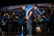 23 September 2013; Dublin's Eoghan O'Gara lifts Paddy Andrews during the homecoming celebrations of the All-Ireland Senior Football Champions. Merrion Square, Dublin. Picture credit: David Maher / SPORTSFILE