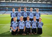 22 September 2013; The Dublin team, back row, left to right, James O'Mullane, from Kilmurry N.S. Lissarda, Cork, Fergal Quinn, from Holy Trinity P.S. Enniskillen, Fermanagh, Gavin Brady, from Mullahoran N.S. Kilcogy, Cavan, Colin Murphy, from An Gr'anán N.S. Moate, Westmeath, John Kennedy, from Gortnahoe N.S. Thurles, Tipperary, front row, left to right, James Tyrrell, from De La Salle N.S. Ballyfermot, Dublin, Corey Power, from Holy Spirit Boy's N.S. Ballymun, Dublin, Paraic Hughes, from Ballythomas N.S. Gorey, Wexford, Aaron Perry, from Holy Family N.S. Tubbercurry, Sligo, Diarmaid Gallagher, from St. Teresa's P.S. Omagh, Tyrone. INTO/RESPECT Exhibition GoGames during the GAA Football All-Ireland Senior Championship Final between Dublin and Mayo, Croke Park, Dublin. Picture credit: Dáire Brennan / SPORTSFILE