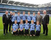 22 September 2013; Uachtarán Chumann Lœthchleas Gael Liam î NŽill, left, INTO President Breandán î Suilleabháin, President of the Ladies Gaelic Football Association Pat Quill, with the Dublin team, back row, left to right, James O'Mullane, from Kilmurry N.S. Lissarda, Cork, Fergal Quinn, from Holy Trinity P.S. Enniskillen, Fermanagh, Gavin Brady, from Mullahoran N.S. Kilcogy, Cavan, Colin Murphy, from An Gr'anán N.S. Moate, Westmeath, John Kennedy, from Gortnahoe N.S. Thurles, Tipperary, front row, left to right, James Tyrrell, from De La Salle N.S. Ballyfermot, Dublin, Corey Power, from Holy Spirit Boy's N.S. Ballymun, Dublin, Paraic Hughes, from Ballythomas N.S. Gorey, Wexford, Aaron Perry, from Holy Family N.S. Tubbercurry, Sligo, Diarmaid Gallagher, from St. Teresa's P.S. Omagh, Tyrone. INTO/RESPECT Exhibition GoGames during the GAA Football All-Ireland Senior Championship Final between Dublin and Mayo, Croke Park, Dublin. Picture credit: Dáire Brennan / SPORTSFILE