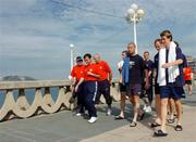 22 August 2004; Shelbourne manager Pat Fenlom, 2nd from left, walks with his players and staff, left to right, Dr. Ronan O'Callaghan, Fred Davis, Owen Heary, Dave Rogers, Jim Crawford, Tony McCarthy and Alan Cawley in La Coruna  in advance of the UEFA Champions League, 3rd round second leg qualifier game against Deportivo La Coruna on Tuesday. La Coruna, Spain. Picture credit; David Maher / SPORTSFILE