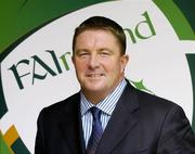 25 August 2004; Fran Rooney, CEO, FAI, at the launch of the Association's new logo, website, fans club and range of merchandise in Jury's Hotel, Dublin. Picture credit; Ray McManus / SPORTSFILE