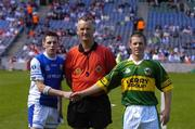 29 August 2004; Kerry captain Shane Murphy shakes hands with Laois captain Craig Rogers in the company of match referee Jimmy White before the start of the game. All-Ireland Minor Football Championship Semi-Final, Kerry v Laois, Croke Park, Dublin. Picture credit; Brian Lawless / SPORTSFILE