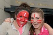 29 September 2013; Cork supporters Kathleen Nora Maguire, left, and Anna Marie O'Driscoll, both members of the Ilen Rovers Club, Skibereen, outside Croke Park before the game. TG4 All-Ireland Ladies Football Senior Championship Final, Cork v Monaghan, Croke Park, Dublin. Picture credit: Ray McManus / SPORTSFILE