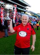 29 September 2013; Cork manager Eamonn Ryan celebrates with the Brendan Martin cup. TG4 All-Ireland Ladies Football Senior Championship Final, Cork v Monaghan, Croke Park, Dublin. Picture credit: Paul Mohan / SPORTSFILE