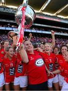 29 September 2013; Cork manager Eamonn Ryan celebrates with the Brendan Martin cup after the game. TG4 All-Ireland Ladies Football Senior Championship Final, Cork v Monaghan, Croke Park, Dublin. Picture credit: Paul Mohan / SPORTSFILE