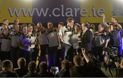 29 September 2013; Clare captain Patrick Donnellan is interviewed by Marty Morrissey during the homecoming celebrations of the All-Ireland Senior Hurling Champions. Tim Smythe Park, Ennis, Co. Clare. Picture credit: Diarmuid Greene / SPORTSFILE