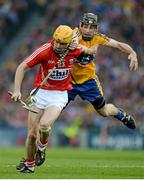 28 September 2013; Cathal Naughton, Cork, in action against Patrick Donnellan, Clare. GAA Hurling All-Ireland Senior Championship Final Replay, Cork v Clare, Croke Park, Dublin. Picture credit: Ray McManus / SPORTSFILE