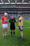 28 September 2013; Match referee James McGrath speaks to Cork's Patrick Cronin, left, and Patrick Donnellan, Clare, right, before the game. GAA Hurling All-Ireland Senior Championship Final Replay, Cork v Clare, Croke Park, Dublin. Picture credit: Ray McManus / SPORTSFILE