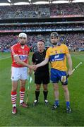 28 September 2013; Cork's Patrick Cronin, left, and Patrick Donnellan, Clare, right, shake hands in front of match referee James McGrath before the game. GAA Hurling All-Ireland Senior Championship Final Replay, Cork v Clare, Croke Park, Dublin. Picture credit: Ray McManus / SPORTSFILE