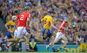 28 September 2013; Patrick Donnellan, Clare, races through the Cork defence on the way to setting up his side's first goal. GAA Hurling All-Ireland Senior Championship Final Replay, Cork v Clare, Croke Park, Dublin. Picture credit: Brendan Moran / SPORTSFILE