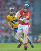 28 September 2013; Conor Lehane, Cork, in action against Patrick Donnellan, Clare. GAA Hurling All-Ireland Senior Championship Final Replay, Cork v Clare, Croke Park, Dublin. Picture credit: Brendan Moran / SPORTSFILE