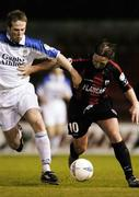 11 September 2004; Dessie Baker, Longford Town, in action against Graham O'Keeffe, Athlone Town. FAI Cup Quarter-Final, Longford Town v Athlone Town, Flancare Park, Longford. Picture credit; David Maher / SPORTSFILE