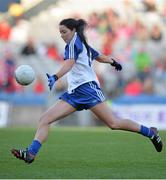 29 September 2013; Cathriona McConnell, Monaghan, kicks a last minute free which ultimately went wide. Had she scored the game would have ended in a draw. TG4 All-Ireland Ladies Football Senior Championship Final, Cork v Monaghan, Croke Park, Dublin. Picture credit: Brendan Moran / SPORTSFILE