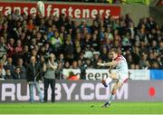 4 October 2013; Paddy Jackson , Ulster, kicks a successful penalty. Celtic League 2013/14, Round 5, Ospreys v Ulster, Liberty Stadium, Swansea, Wales. Picture credit: Steve Pope / SPORTSFILE