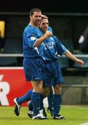 15 September 2004; Willie Bruton, right, Waterford United, celebrates after scoring his sides first goal with team-mate Dave Mulcahy. FAI Cup Quarter Final Replay, Rockmount v Waterford United, Turners Cross, Cork. Picture credit; David Maher / SPORTSFILE
