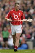 12 September 2004; Diarmuid O'Sullivan, Cork. Guinness All-Ireland Senior Hurling Championship Final, Cork v Kilkenny, Croke Park, Dublin. Picture credit; Ray McManus / SPORTSFILE *** Local Caption *** Any photograph taken by SPORTSFILE during, or in connection with, the 2004 Guinness All-Ireland Hurling Final which displays GAA logos or contains an image or part of an image of any GAA intellectual property, or, which contains images of a GAA player/players in their playing uniforms, may only be used for editorial and non-advertising purposes.  Use of photographs for advertising, as posters or for purchase separately is strictly prohibited unless prior written approval has been obtained from the Gaelic Athletic Association. *** Local Caption *** Any photograph taken by SPORTSFILE during, or in connection with, the 2004 Guinness All-Ireland Hurling Final which displays GAA logos or contains an image or part of an image of any GAA intellectual property, or, which contains images of a GAA player/players in their playing uniforms, may only be used for editorial and non-advertising purposes.  Use of photographs for advertising, as posters or for purchase separately is strictly prohibited unless prior written approval has been obtained from the Gaelic Athletic Association.