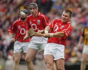 12 September 2004; Diarmuid O'Sullivan, Cork. Guinness All-Ireland Senior Hurling Championship Final, Cork v Kilkenny, Croke Park, Dublin. Picture credit; Ray McManus / SPORTSFILE *** Local Caption *** Any photograph taken by SPORTSFILE during, or in connection with, the 2004 Guinness All-Ireland Hurling Final which displays GAA logos or contains an image or part of an image of any GAA intellectual property, or, which contains images of a GAA player/players in their playing uniforms, may only be used for editorial and non-advertising purposes.  Use of photographs for advertising, as posters or for purchase separately is strictly prohibited unless prior written approval has been obtained from the Gaelic Athletic Association.