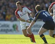 11 September 2004; Andrew Maxwell, Ulster, in action against David McAllister, Leinster. Celtic League 2004-2005, Ulster v Leinster, Ravenhill Park, Belfast. Picture credit; Brendan Moran / SPORTSFILE