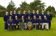 16 September 2004; The Borris Golf Club team, back row, left to right,  Greg Murphy, Pat McGrath, Jimmy Conran, Michael Condon, Edward Holden, James Lillis, Shane Foley, Kevin Cosgrave, Art O'Leary and Ward Kinsella. Front row, left to right, Stephen Kent, Bulmers Marketing Manager, Tony Mitchell, Brendan Kiernan club captain, Michael Dillon team captain, Mick Hanrahan, John Quinn and Michael Coady who played Ballinrobe Golf Club in the semi-finals of Bulmers Pierce Purcell Shield. Shannon Golf Club, Shannon, Co. Clare. Picture credit; Ray McManus / SPORTSFILE