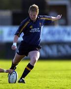 11 September 2004; David McAllister, Leinster. Celtic League 2004-2005, Ulster v Leinster, Ravenhill Park, Belfast. Picture credit; Brendan Moran / SPORTSFILE