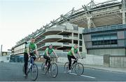 10 October 2013; Cuisine de France Sales Manager Wesley Morrisey, left, Neasa O'Se, and Opel Ireland Managing Director Dave Sheeran setting off from Croke Park as they begin the first leg of the Paidi O Se Charity Cycle Sportive. The inaugural three day cycle from Croke Park to Ventry is sponsored by Opel, supported by Cuisine de France and running from October 10th - 12th to raise money for cardiac services, through Fundúireacht Páidí Ó Sé. For more information on the Paidi Ó Sé Charity Cycle Sportive log on to paidiose.com. Croke Park, Dublin. Picture credit: Barry Cregg / SPORTSFILE