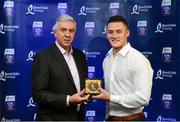 12 October 2013; Selected at midfield on the inaugural Bord Gáis Energy Under 21 Team of the Year is Lee Chin, Wexford. The inspirational Faythe Harriers clubman was the Wexford captain as they beat Kilkenny in the Leinster Final in a dramatic finish. It was their first provincial honour since 2002. Pictured with Lee is Ger Cunningham, Bord Gáis Energy Ambassador and Team of the Year Judge. Bord Gáis Energy All-Ireland GAA Hurling Under 21 Team of the Year Awards, Croke Park, Dublin. Picture credit: Paul Mohan / SPORTSFILE