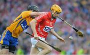 28 September 2013; Cathal Naughton, Cork, in action against Patrick Donnellan, Clare. GAA Hurling All-Ireland Senior Championship Final Replay, Cork v Clare, Croke Park, Dublin. Picture credit: Brendan Moran / SPORTSFILE
