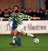 17 January 1999; Billy Woods of Shamrock Rovers in action against Alan Mahon of UCD during the Harp Lager National League Premier Division match between UCD and Shamrock Rovers at Belfield Park in Dublin. Photo by Ray McManus/Sportsfile